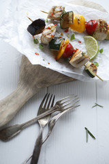 Savory halloumi kebabs with bell pepper