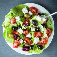 Plate of healthy Mediterranean salad