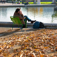 Relaxation in park Tuileries.