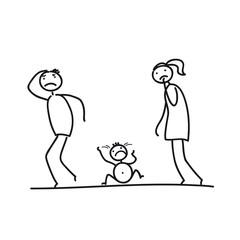 Verzweifelte Eltern und Schreikind
