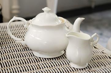 Teapot with little milk jar