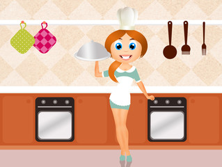 woman cooks