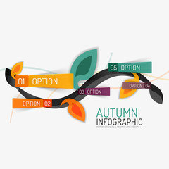 Floral swirl autumn infographic report, minimal