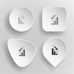 Graph degress. White flat vector buttons on gray background.