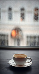 cup of cappuccino, rain fall