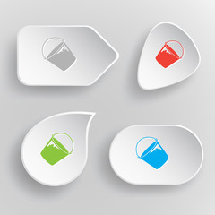 Bucket. White flat vector buttons on gray background.