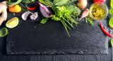 Border of fresh fruit , vegetables and herbs