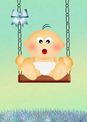 baby boy on swing