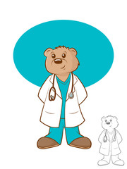 Illustration of a brown bear wearing a lab coat and scrubs