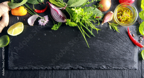 Foto op Aluminium Boodschappen Border of fresh fruit , vegetables and herbs