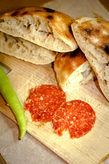 Hot Peppery Salami with Flatbread and Peperoni
