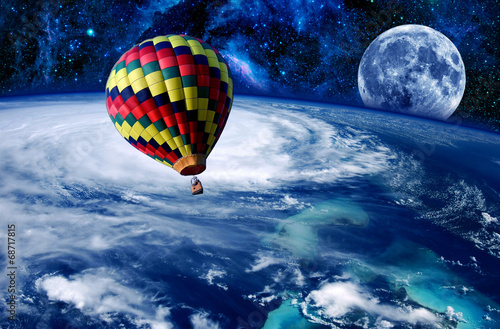 Fotobehang Ballon Balloon Earth Moon Space
