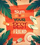 Fototapety Summer beach card \ poster design. Vector illustration.