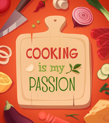Cooking card \ poster design. Vector illustration.
