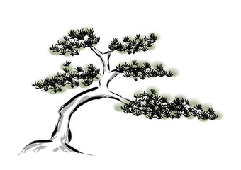 Ink painting pine tree