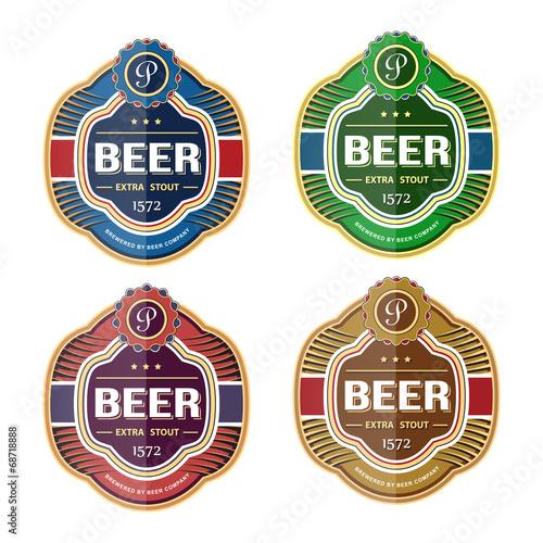 Green beer bottle label template - 68718888