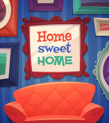 Sweet home card \ poster design. Vector illustration.