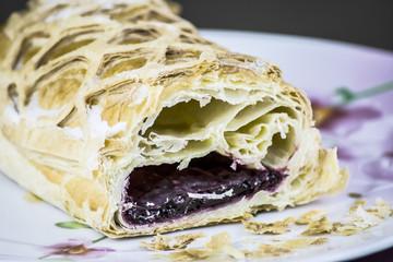layer cake with cherry jam