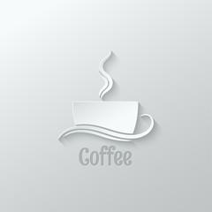 coffee cup paper cut design background