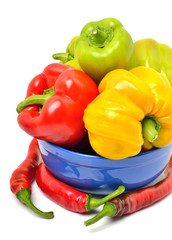 Sweet pepper, chili pepper in the plate