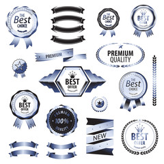 Luxury blue silver premium best choice labels set vector