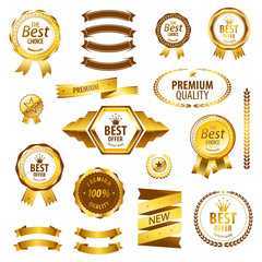 Luxury golden premium best choice labels set vector