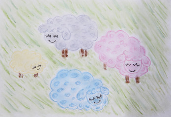 Colored funny sheep on green meadow, drawing, pastel