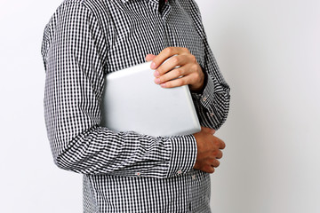CLoseup portrait of a man with tablet computer