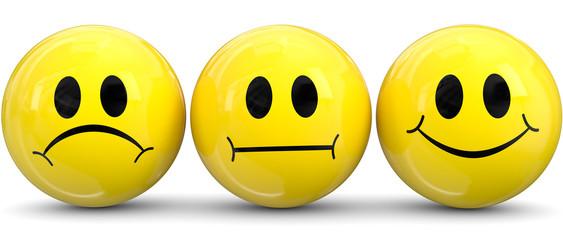 drei gelbe smileys emotionen