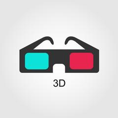 Modern 3D cinema glasses, flat design