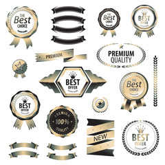 Luxury silver premium best choice labels set vector