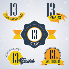 Retro vector stamp celebrating, 13 years of service,Anniversary