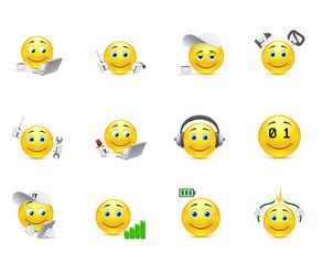 smileys representing charging for the body and brain