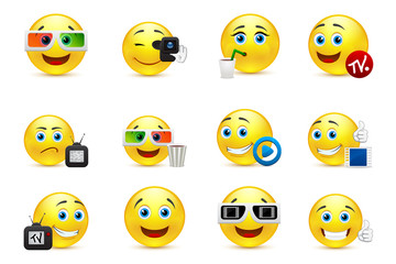 Vector smiley images with elements of the entertainment industry