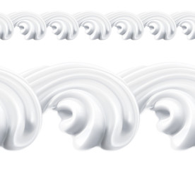 Whipped cream, vector seamless pattern