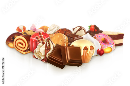Chocolate, confectionery vector illustration