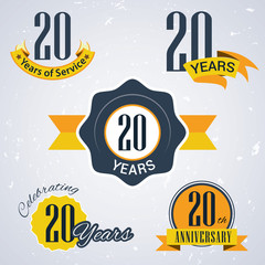 Retro vector stamp celebrating, 20 years of service,Anniversary