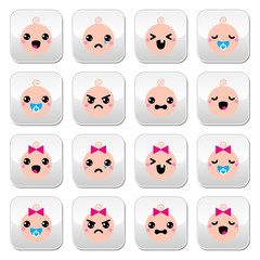 Baby boy and girl cute Kawaii buttons set