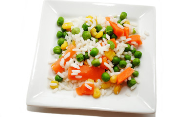 White Rice with a Variety of Mixed Veggies