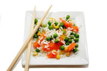 Eating Rice and Fresh Vegetables with Chopsticks