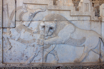 Ruins of ancient Persepolis, Iran. Bas-relief.