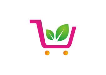 shopping cart icon shopping basket design fruits vegetable