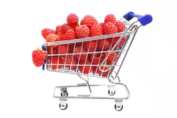 Shopping cart with ripe raspberry