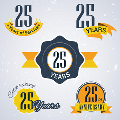 Retro vector stamp celebrating, 25 years of service,Anniversary