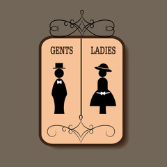 lady and gentleman sign
