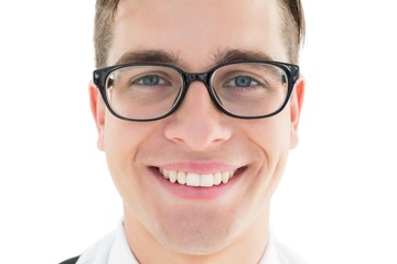 Nerdy hipster smiling at camera