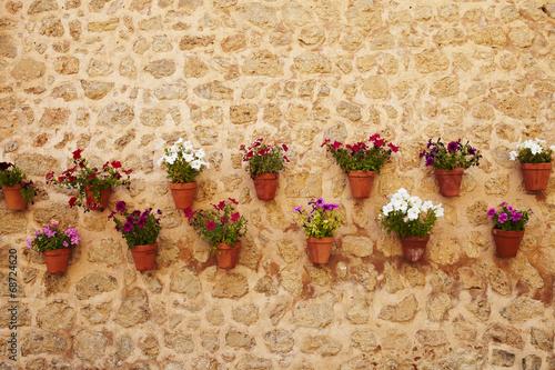 canvas print picture hängende Blumentöpfe am Mauer