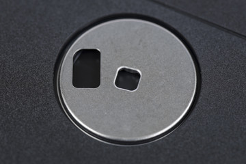 Floppy disk macro close up.