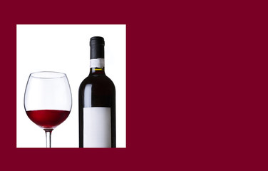 Red wine in glass and bottle. Wine list,menu,card image.