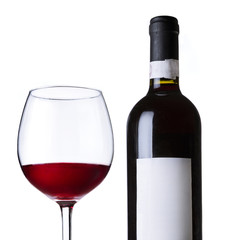 Red wine in glass and bottle.Isolated on white background.